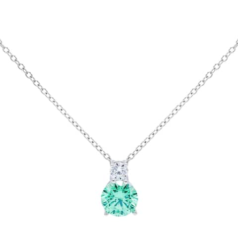 4.5 carat 2-Stone Round Cut Simulated Cubic Zirconia Necklace