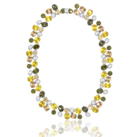 Oval, Pear and Round Mixed Cubic Zirconia and Simulated Gemstones Wreath Design Necklace