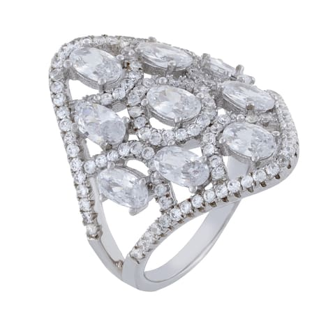 Cubic Zirconia Oval Shape Cluster Openwork Cocktail Ring