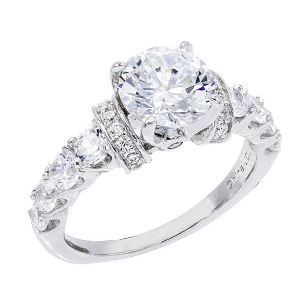 2.3 ct Cubic Zirconia Round-Cut Center Stone with Graduated Side CZs Engagement Ring. Opens flyout.