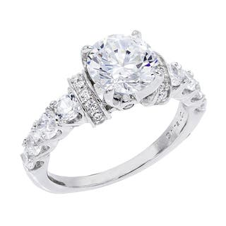 2.3 ct Cubic Zirconia Round-Cut Center Stone with Graduated Side CZs Engagement Ring