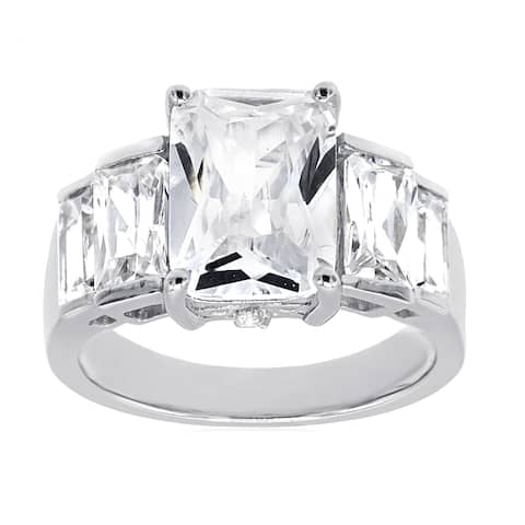 Cubic Zirconia Emerald and Baguette Cut Five Stone Cocktail Ring