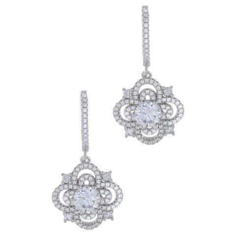 Cubic Zirconia Openwork Floral Style Drop Earrings