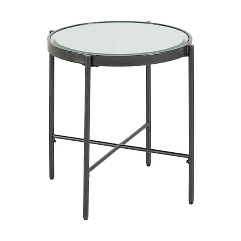 Picket House Furnishings Carlo Round End Table with Glass Top