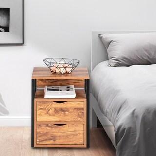 """19"""" Steel Frame Nightstands Elegant Bedside Table with Drawer"""