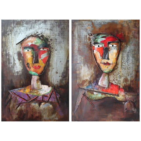 """""""Homme"""" Mixed Media Iron Hand Painted Faces Dimensional Wall Art"""