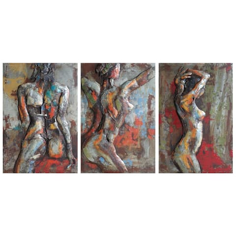 Nude Study Mixed Media Iron Hand Painted Dimensional Wall Art Set of 3