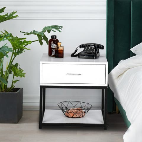 "19"" Modern And Simple Style Nightstand with Drawer"