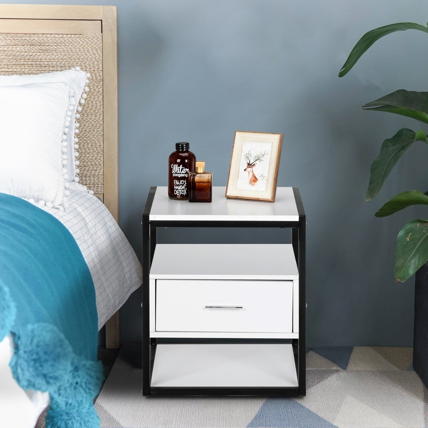 Modern style Style with a Drawer Nightstand bedside table 49.5x39.5x29.5 cm