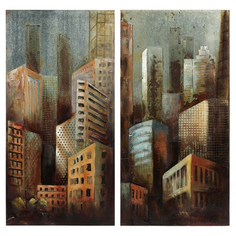"""""""Gray Arquitecture"""" Mixed Media Iron Hand Painted Dimensional Wall Art"""