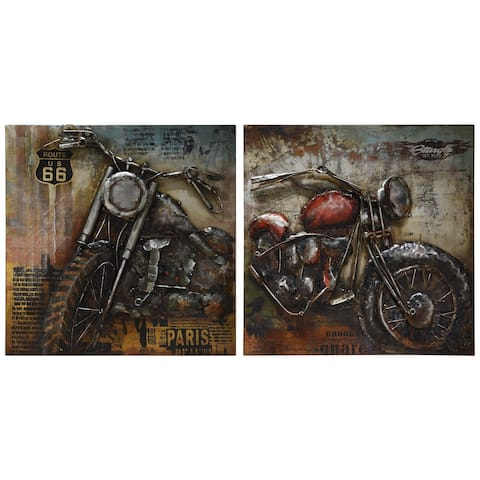 Motorcycle Mixed Media Iron Hand Painted Dimensional Wall Art Set of 2