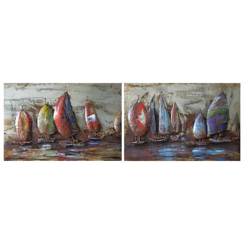 """The Regatta"" Mixed Media Iron Hand Painted Dimensional Wall Art"