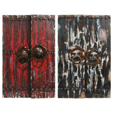 """Antique Wooden Doors"" Metallic Handed Painted Rugged Wooden Wall Art"