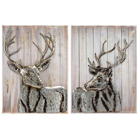 Deer Handed Painted Iron Wall Sculpture on Slatted Solid Wood Wall Art