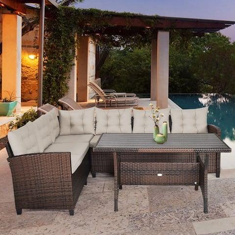 Outdoor 3 Pieces Sectional Furniture Set Wicker Rattan Sofa Set