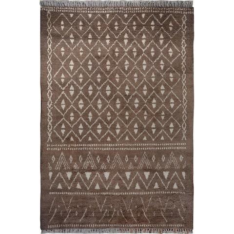 "Brown Geometric Shaggy Moroccan Area Rug Handmade Living Room Carpet - 7'10"" x 10'6"""