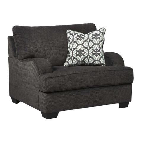 Fabric Upholstered Wooden Chair and a Half with Tapered Block Feet, Black