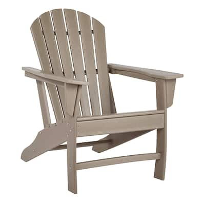 Contemporary Plastic Adirondack Chair with Slatted Back, Brown