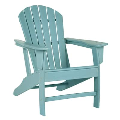 Contemporary Plastic Adirondack Chair with Slatted Back, Turquoise