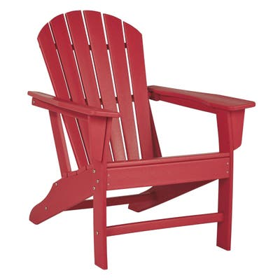 Contemporary Plastic Adirondack Chair with Slatted Back, Red