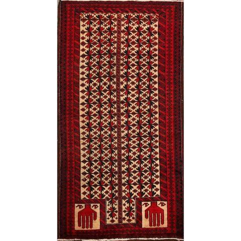 "Vintage Geometric Balouch Oriental Area Rug Handmade Foyer Carpet - 2'10"" x 5'0"""