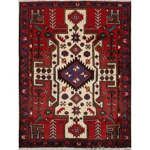 "Tribal Geometric Bakhtiari Persian Area Rug Hand-Knotted Carpet - 3'5"" x 4'8"""