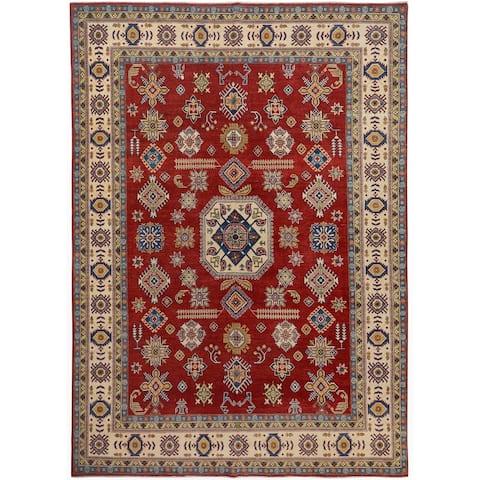 "Decorative Geometric Super Kazak Oriental Area Rug Handmade Red Carpet - 9'1"" x 11'9"""