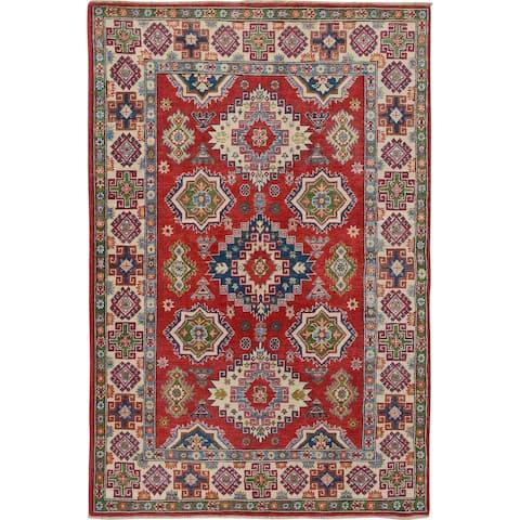 "Home Decor Red Geometric Super Kazak Oriental Area Rug Handmade - 4'11"" x 6'11"""