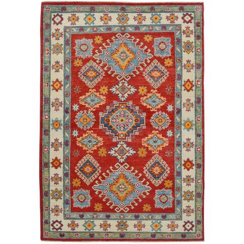 "Red Geometric Super Kazak Oriental Area Rug Hand-Knotted Foyer Carpet - 4'0"" x 5'11"""