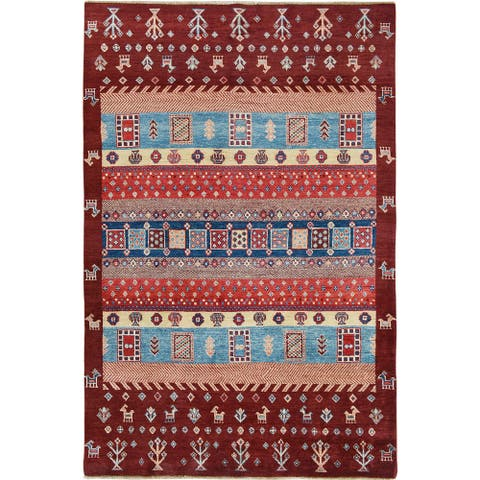"Geometric Gabbeh-Lori Tribal Area Rug Handmade Wool Foyer Carpet - 4'11"" x 7'3"""