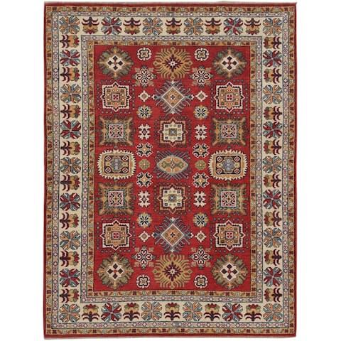 "Geometric Super Kazak Oriental Red & Ivory Area Rug Hand-Knotted - 5'1"" x 6'7"""