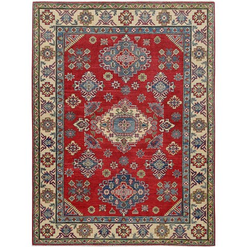 "Geometric Super Kazak Oriental Red Area Rug Hand-Knotted Wool Carpet - 5'0"" x 6'11"""