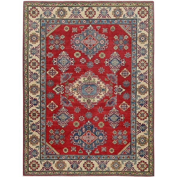"""Geometric Super Kazak Oriental Red Area Rug Hand-Knotted Wool Carpet - 5'0"""" x 6'11"""". Opens flyout."""