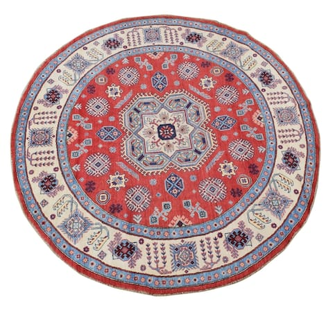 "Geometric Medallion Super Kazak Area Rug Handmade Home Decor Carpet - 7'11"" x 8'2"" Round - 7'11"" x 8'2"" Round"