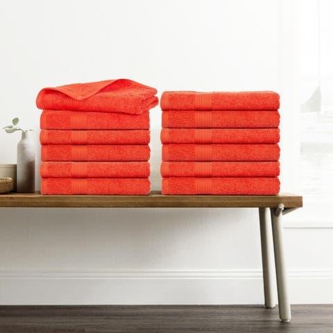 Ample Decor Premium Cotton Extra Absorbent 12 Pcs Hand Towel Set - 18 x 28 Inch