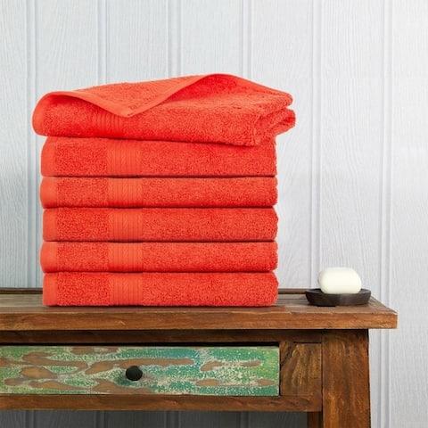 Ample Decor Premium Cotton Extra Absorbent 6 Pcs Hand Towel Set - 18 x 28 Inch