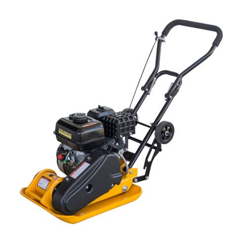 Buffalo Tools Pro Series 6.5HP 196cc 3000 lbs Compaction Force Plate Compactor with 2 Rear Wheels - Yellow,Black