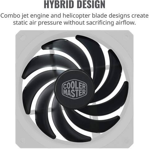 Cooler Master MFXB2NN20NPKR1 MasterFan SF120R 120mm Square Framed Fan Hybrid Air Balance Blade Design