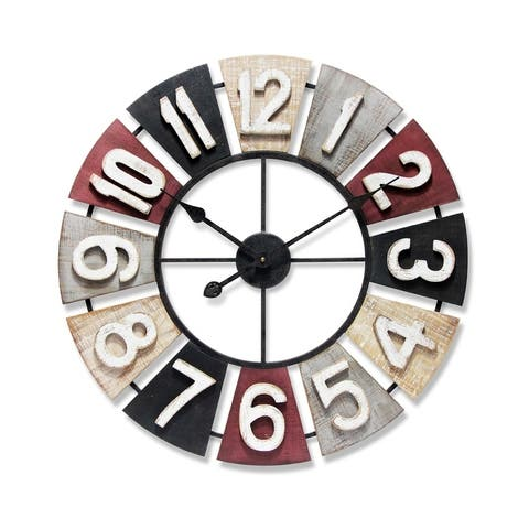 Windmill Large Wooden 24 inch Multi-Color Decorative Wall Clock Traditional