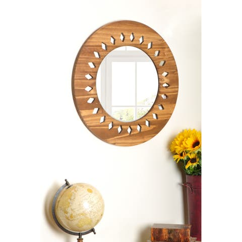 Carved Diamond Circle Mirror - 22.5 x 22.5