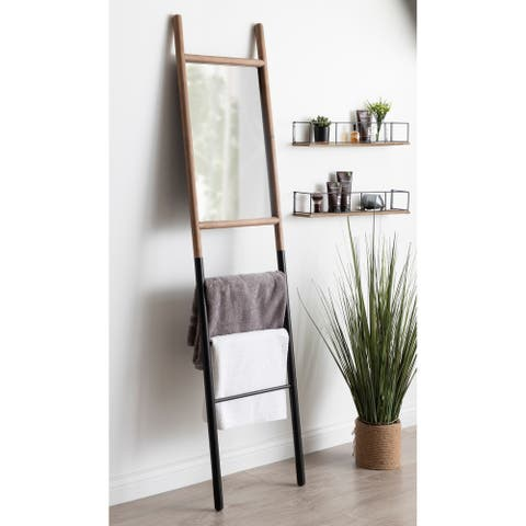 Kate and Laurel Trygg Rustic Leaning Ladder Mirror - Natural/Black - 17x73