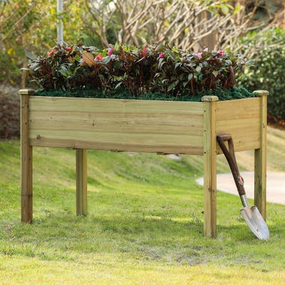 48in Wood Rectangular Raised Garden Planter