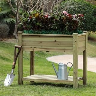 34in Wood Rectangular Raised Garden Planter