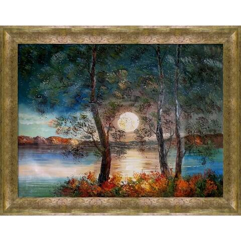 """ArtistBe Moon Reproduction with Sirocco Frame Oil Painting Wall Art, 47""""x37"""""""