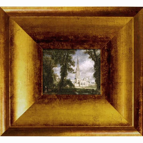 """Salisbury Cathedral from the Bishop's Garden by John Constable with Athenian Antiqued King Frame Miniature Wall Art, 10.5""""x11.5"""""""