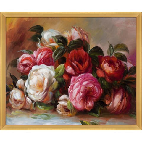 "La Pastiche Discarded Roses with Piccino Luminoso Frame Oil Painting Wall Art, 26.5""x22.5"""