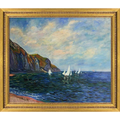 """La Pastiche Cliffs and Sailboats at Pourville with Versailles Gold Queen Frame Oil Painting Wall Art, 29""""x25"""""""