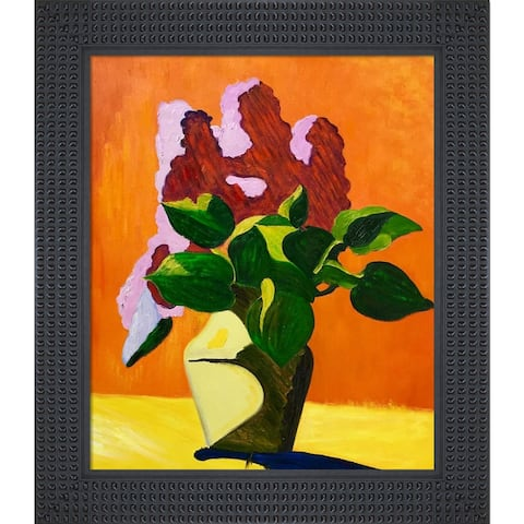 """La Pastiche Lilacs with Java Bean Frame Oil Painting Wall Art, 26.5""""x30.5"""""""