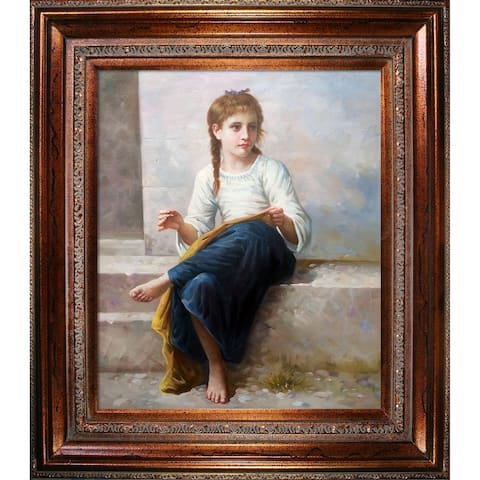 """La Pastiche The Dressmaker, 1898 with Mediterranean Bronze Frame Oil Painting Wall Art, 30""""x34"""""""