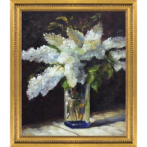 """La Pastiche Lilacs in a Vase with Versailles Gold Queen Frame Oil Painting Wall Art, 25""""x29"""""""